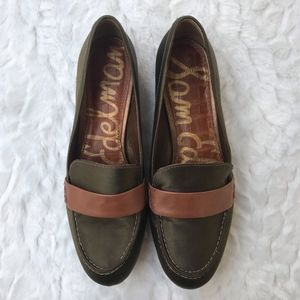 SAM EDELMAN OLIVE GREEN EMILIO LOAFERS FLAT SHOES